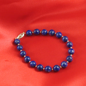 Natural 8mm Lapis Lazuli Beads; 14k Yellow Gold Clasp & 14k 2.5mm Beads Bracelet