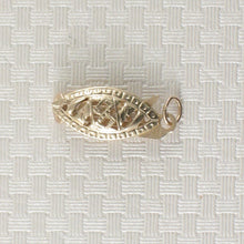 Load image into Gallery viewer, 14k Yellow Gold Marquise Filigree Fish Hook Safety Clasp w/ Close Jump Rings