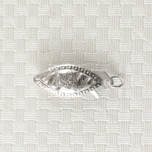 14k White Gold Marquise Filigree Fish Hook Safety Clasp w/ Close Jump Rings