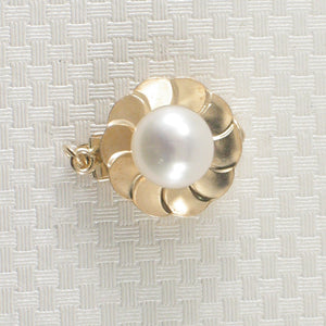 13mm 14K Solid Yellow Gold with Closed Jump Rings White Cultured Pearl Clasp