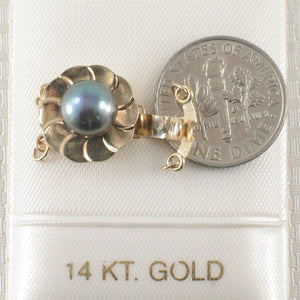 14K Solid Yellow Gold Double Strand (2 rows) Blue-Gray Cultured Pearl Clasp