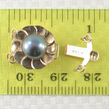 Load image into Gallery viewer, 14K Solid Yellow Gold Double Strand (2 rows) Blue-Gray Cultured Pearl Clasp