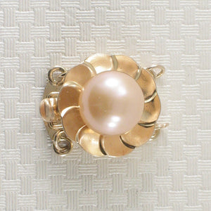 14K Solid Yellow Gold Double Strand (2 rows) Peach Cultured Pearl Clasp