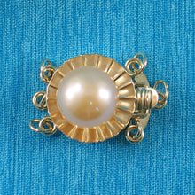 Load image into Gallery viewer, 14K Solid Yellow Gold Triple Strands (3 rows) Pink Cultured Pearl Clasp