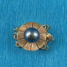 Load image into Gallery viewer, 14K Solid Yellow Gold Triple Strands (3 rows) Blue-Gray Pearl Clasp