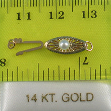 Load image into Gallery viewer, 14k Yellow Gold Marquise Hook Safety White Pearl Clasp w/ Close Jump Rings