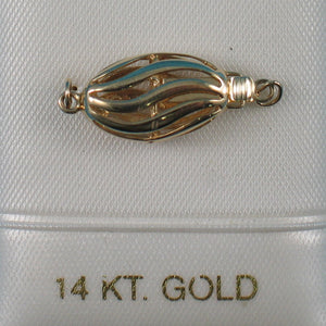 14K Solid Yellow Gold 9 x 24 mm Wave Shape Clasp