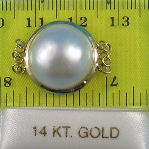 14K Solid Yellow Gold Triple Strands (3 rows) 16mm White Mabe Pearl Divider