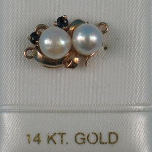 14K Solid Yellow Gold 2 Sapphire & 7-7.5mm White Cultured Pearl Clasp
