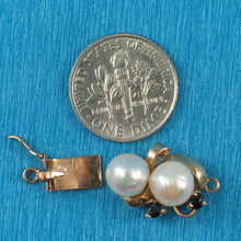 Load image into Gallery viewer, 14K Solid Yellow Gold 2 Sapphire & 7-7.5mm White Cultured Pearl Clasp