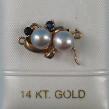 Load image into Gallery viewer, 14K Solid Yellow Gold 2 Sapphire & Pale Lavender Cultured Pearl Clasp