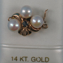 Load image into Gallery viewer, 14K Solid Yellow Gold A Sapphire & 7-7.5mm White Cultured Pearl Clasp