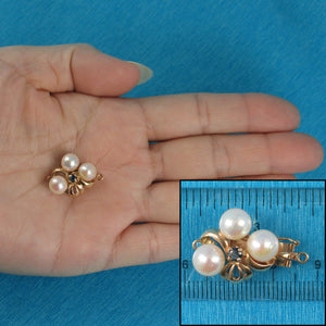 14K Solid Yellow Gold A Sapphire & 7-7.5mm White Cultured Pearl Clasp