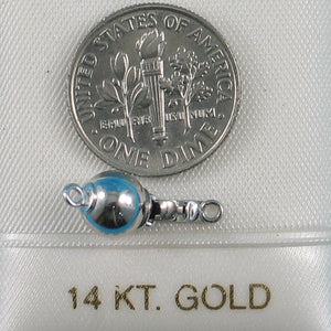 14k White Gold High polished 7mm Smooth Ball Pearl Bead Clasp