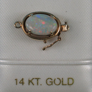 14K Solid Yellow Gold Genuine Natural Opal Rich White with Good Fire Clasp