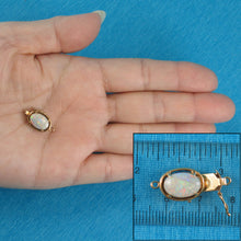 Load image into Gallery viewer, 14K Solid Yellow Gold Genuine Natural Opal Rich White with Good Fire Clasp