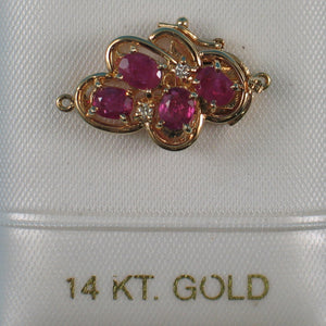 14K Solid Yellow Gold Genuine Natural Red Ruby with Diamond Clasp