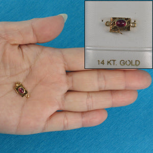 14K Solid Yellow Gold Genuine Natural Red Ruby Clasp