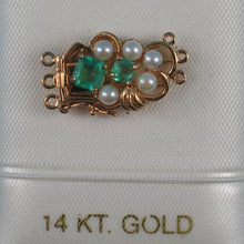 Load image into Gallery viewer, 14K Solid Yellow Gold Natural Emerald & White Cultured Pearl Triple Strand Clasp