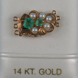 14K Solid Yellow Gold Natural Emerald & White Cultured Pearl Triple Strand Clasp