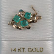 Load image into Gallery viewer, 14K Solid Yellow Gold Three Natural Green Emerald & Diamond Clasp