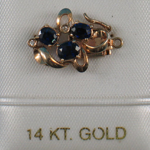 14K Solid Yellow Gold Genuine Natural Blue Sapphire & Diamond Clasp