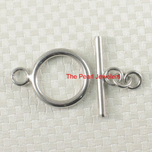 Load image into Gallery viewer, Solid Sterling Silver 925 w/ Rhodium Finishes Tubing Bar & 15mm Ring Toggle Clasp