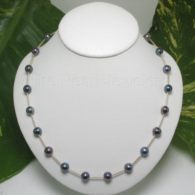 8500131-Blue-Cultured-Freashwater-Pearl-14k-Yellow-Gold-Twist-Tubes-Necklace