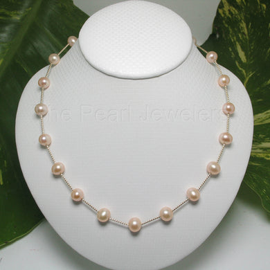 8500132-Pink-Cultured-Freashwater-Pearl-14k-Yellow-Gold-Twist-Tubes-Necklace