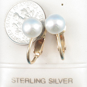 14k Yellow Gold Filled Non Pierced Clip-On White Cultured Pearl Earrings