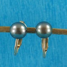 Load image into Gallery viewer, 14k Yellow Gold Filled Non Pierced Clip-On Black Cultured Pearl Earrings
