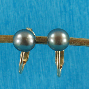 14k Yellow Gold Filled Non Pierced Clip-On Black Cultured Pearl Earrings