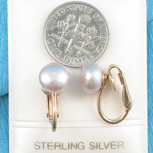 14k Yellow Gold Filled Non Pierced Clip-On Pink Cultured Pearl Earrings