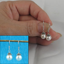 Load image into Gallery viewer, Solid Sterling Silver .925 Bali Bead White Pearl; Handcrafted Hook Earrings