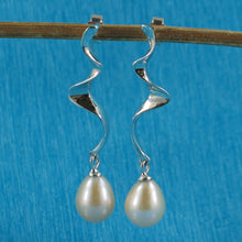 Load image into Gallery viewer, Solid Silver .925 Dangle Lightning Design; Peach Cultured Pearl Earrings