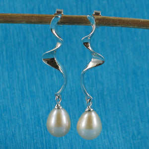 Solid Silver .925 Dangle Lightning Design; Peach Cultured Pearl Earrings