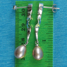 Load image into Gallery viewer, Sterling Silver .925 Dangle Lightning Design; Lavender Cultured Pearl Earrings