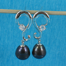 Load image into Gallery viewer, Solid Sterling Silver 925 Black Cultured Pearl & Cubic Zirconia Dangle Earrings