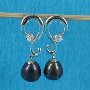 Solid Sterling Silver 925 Black Cultured Pearl & Cubic Zirconia Dangle Earrings