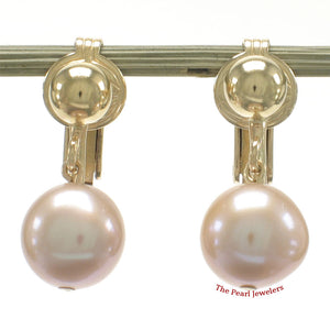 1/20 14k Yellow Gold Filled Non-Pierced Clip Pink Cultured Pearl Dangle Earrings