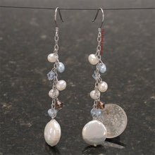 Load image into Gallery viewer, Solid Silver 925 O Chain Handcrafted White Coin Pearl Dangle Hook Earrings