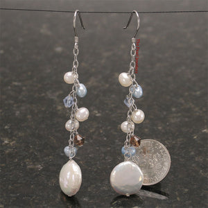 Solid Silver 925 O Chain Handcrafted White Coin Pearl Dangle Hook Earrings