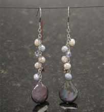 Load image into Gallery viewer, Sterling Silver .925 O Chain Handcrafted Black Coin Pearl Dangle Hook Earrings