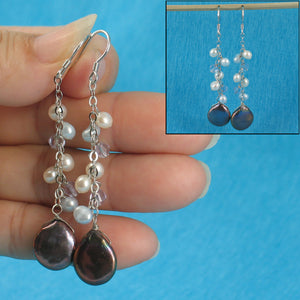 Sterling Silver .925 O Chain Handcrafted Black Coin Pearl Dangle Hook Earrings