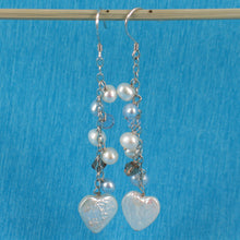 Load image into Gallery viewer, 925 Silver O Chain Handcrafted with Heart Shape Coin Pearl Dangle Hook Earrings