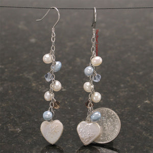 925 Silver O Chain Handcrafted with Heart Shape Coin Pearl Dangle Hook Earrings