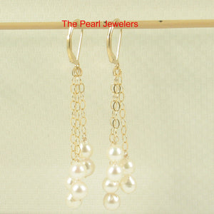 14k Gold Filed Leverback Genuine White Cultured Pearl Drop/Dangle Earrings
