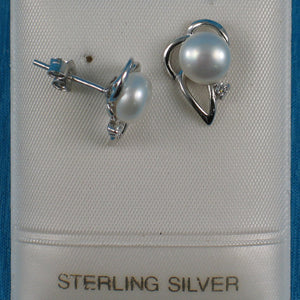 Solid Sterling Silver 925; White Cultured Pearl Cubic Zirconia Stud Earrings