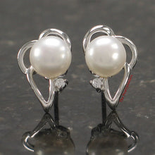Load image into Gallery viewer, Solid Sterling Silver 925; White Cultured Pearl Cubic Zirconia Stud Earrings