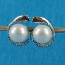 Load image into Gallery viewer, 925 Sterling Silver; C.Z & 9-9.5mm White Freshwater Cultured Pearl Stud Earrings